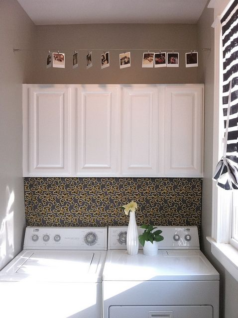 Fabric Panel Over Washer And Dryer To Hide Hookups Cute Idea But Mine Aren T In An Alcove Like This So Wh Laundry Room Laundry Room Diy Laundry Room Remodel