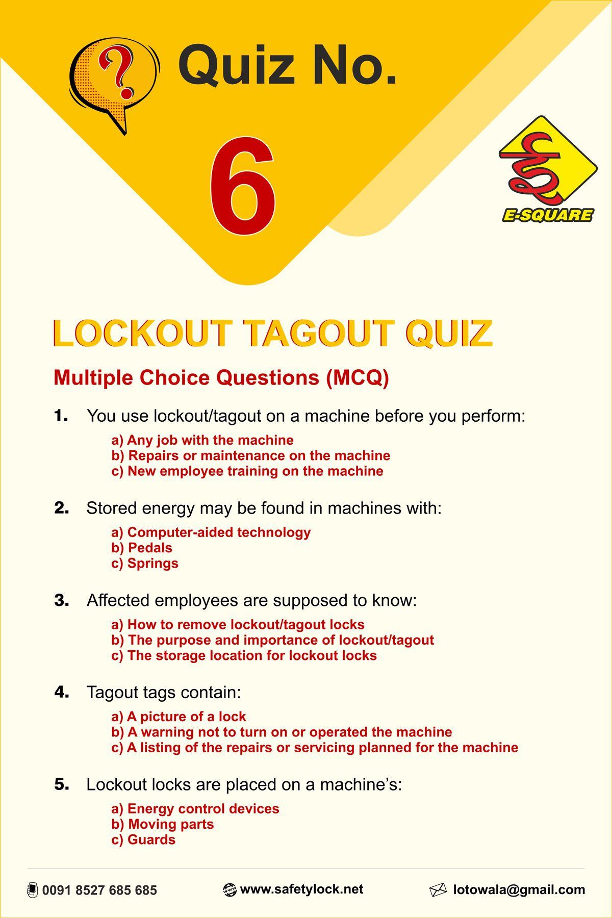Lockout Tagout Quiz 6 Multiple Choice Questions Lockout Tagout