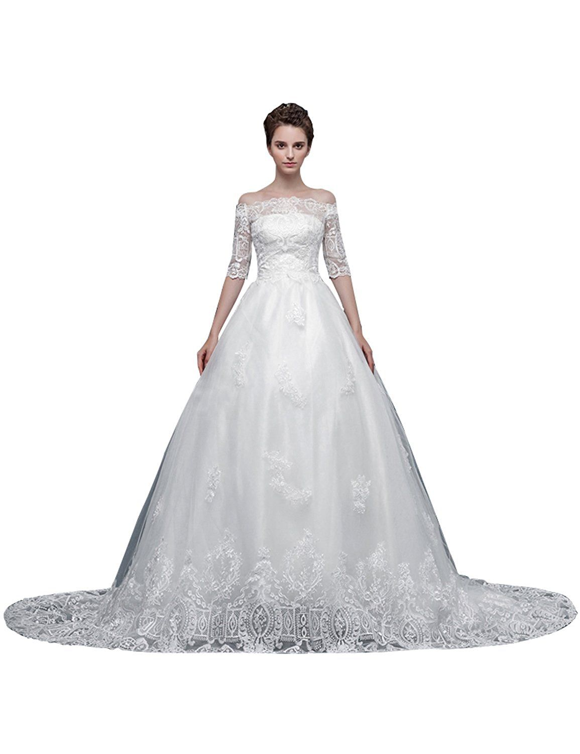 Dj womenus chapel train lace sleeves wedding dress dj click on