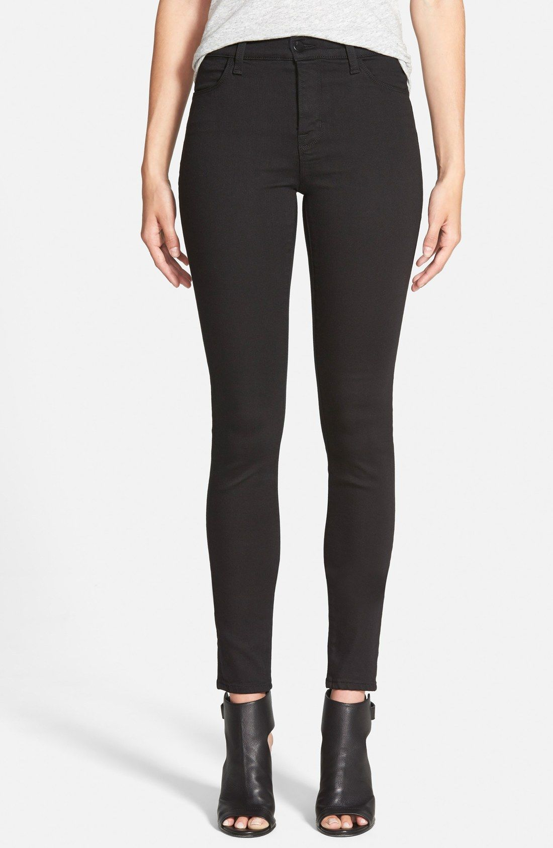 6fd5f88479d3 J Brand 'Maria' High Rise Skinny Jeans (Seriously Black) | Wear ...