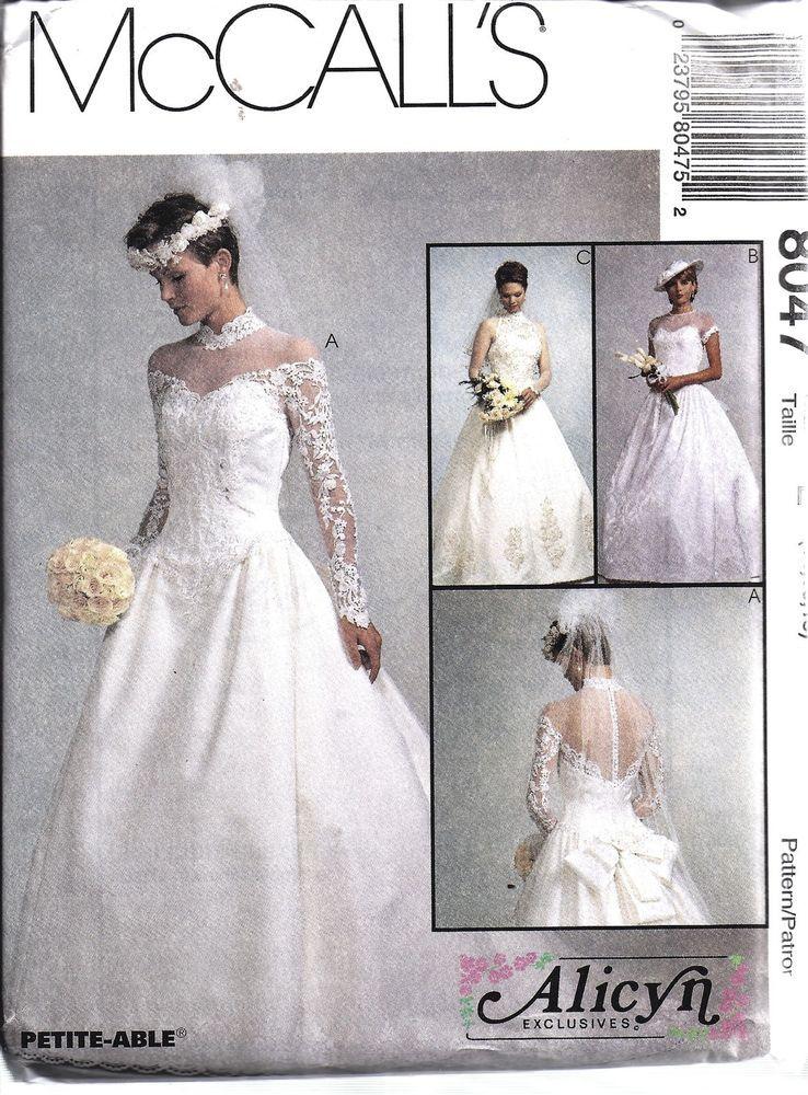 8047 UNCUT Vintage McCalls Sewing Pattern Misses Bridal Gown Wedding ...