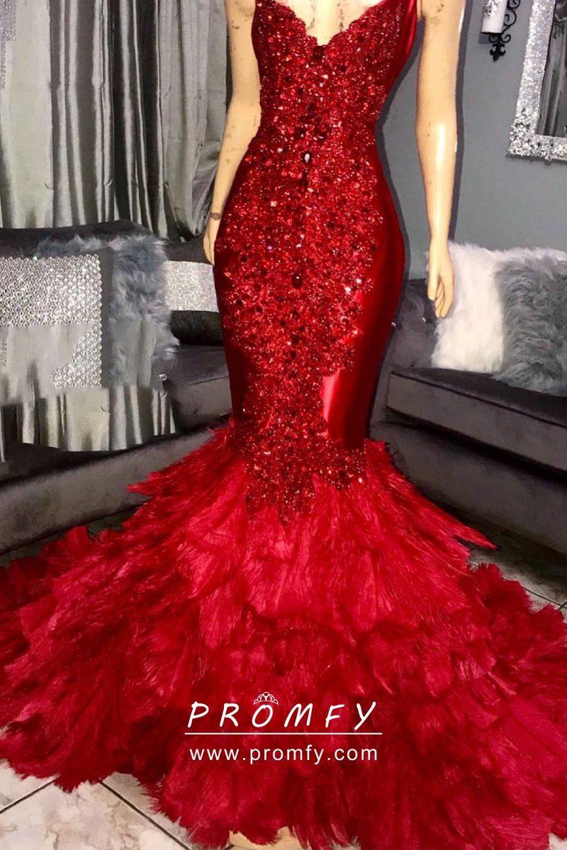 Luxury Crystal Diamond Beaded Red Feather Mermaid Prom