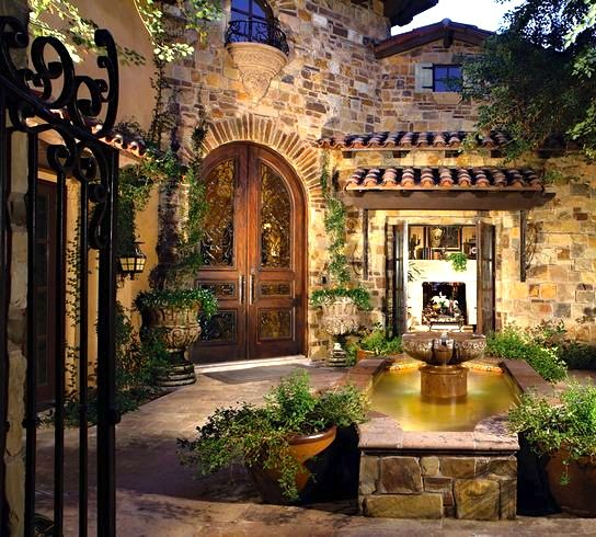 Gorgeous courtyard entrance spanish hacienda pinterest Old world house plans courtyard