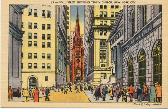 Image result for postcard trinity church wall street
