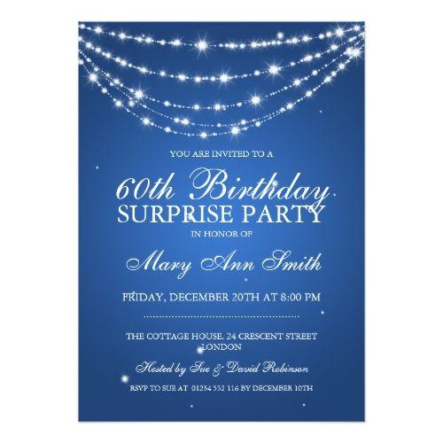 Surprise Birthday Invitations Surprise Birthday Party Sparkling – Blue Birthday Invitations