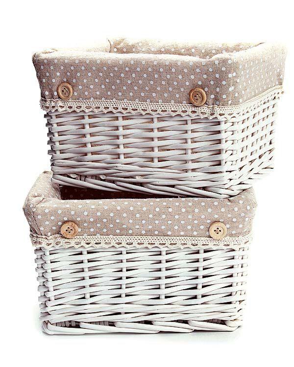 Cestos de mimbre blanco buscar con google cestos - Como forrar cestas de mimbre ...