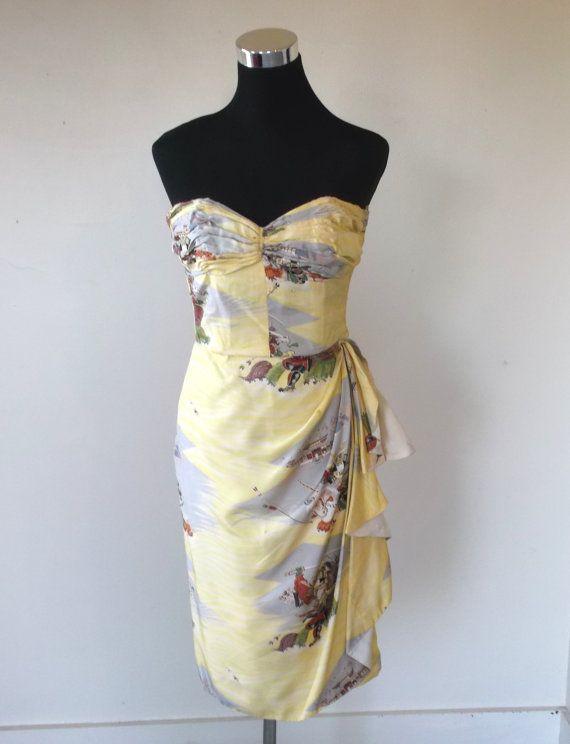 Vintage Hawaiian Asian Print Silk Sarong Dress By Pauline Lake Royal Hawaiin Hotel 32 Bust Xs