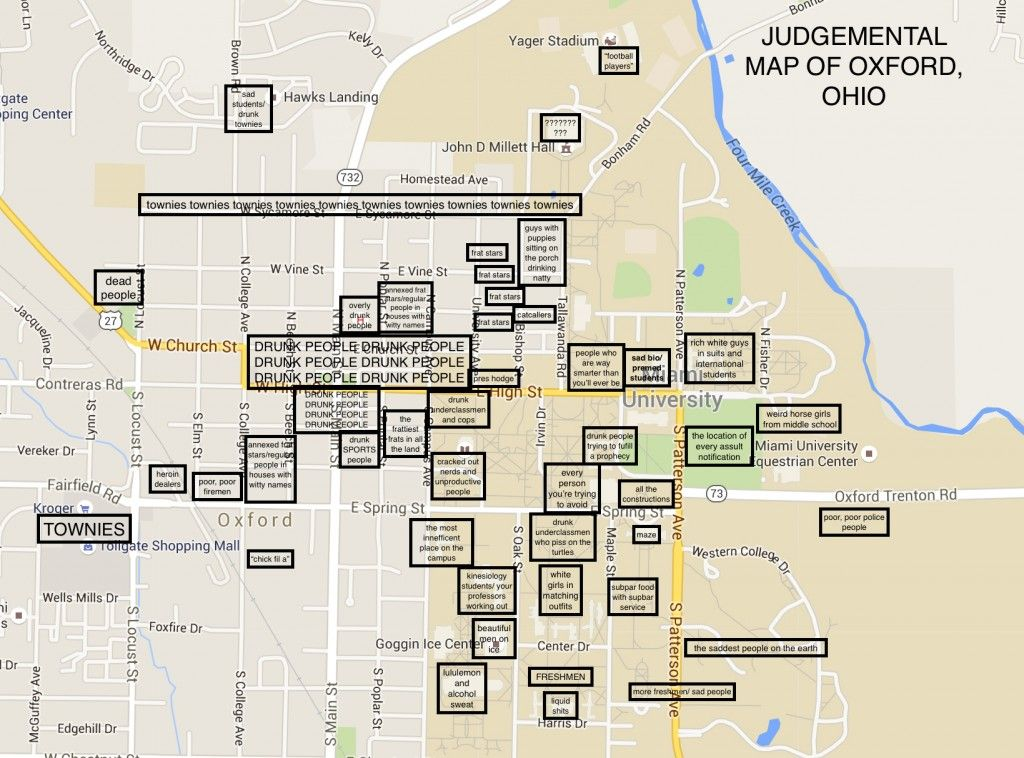 Miami Oxford Campus Map.Pin By The Black Sheep On Judgmental Maps Of College Campuses
