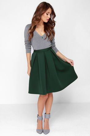 68f564ba0dc7 We can't blame you if you fall head over heels for the Perfect Balance Dark  Green Pleated Midi Skirt, its cute style is mesmerizing!