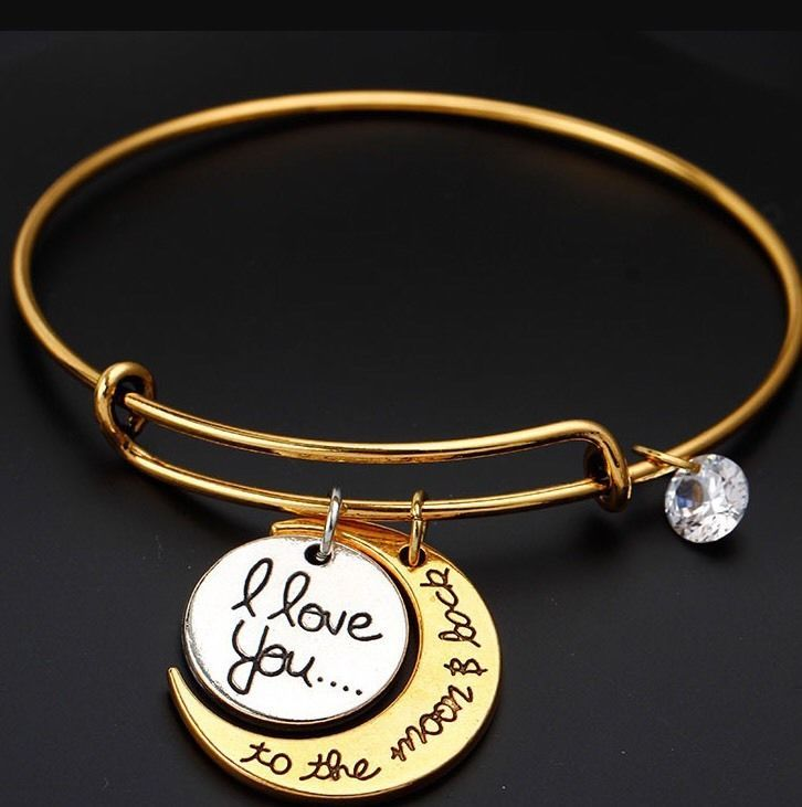 Alex And Ani I Love You To Andthe Moon Back Gold Two Tone Bracelet