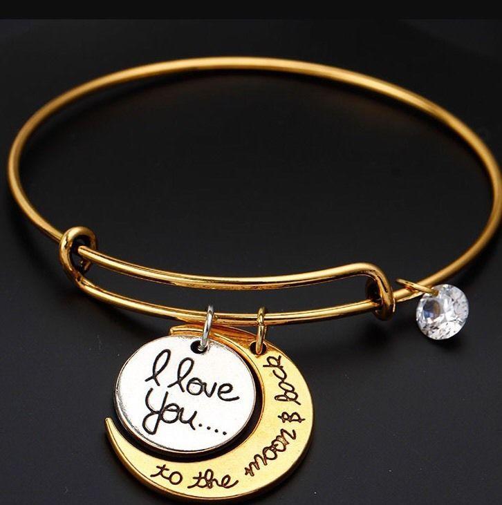 Alex And Ani I Love You To The Moon Back Gold Two Tone Bracelet Alexandani Bangle