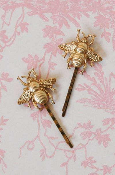 Hair Accessories Summer Wedding Gold Bee Bobby Pins Bumblebee Hair Pin Nature Inspired Woodland Wedding Insect Wings Honey Bees