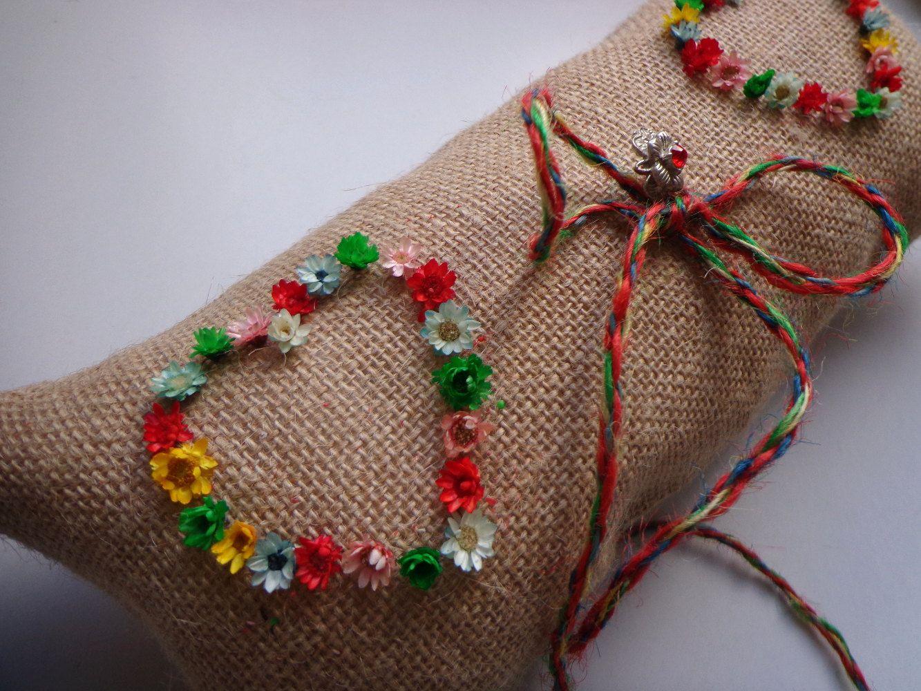 Hippie Wedding Ring bearer pillow, burlap lace ring bearer pillow ...