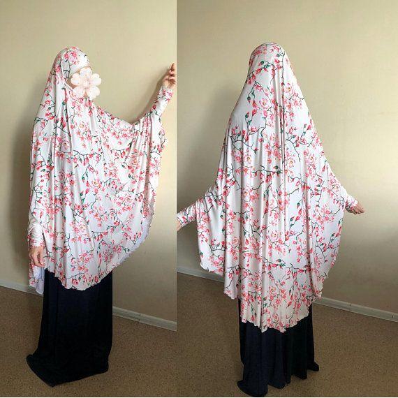 Transformer Floral Khimar Beige Jilbab Hijab Flamingo Nikab