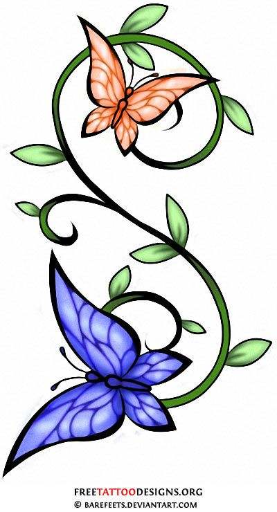 75238faf38b25 Butterflies and vine tattoo design! I just want my butterflies yellow and  pink and want my girls birthdays in the butterflies and the vines I want to  spell ...