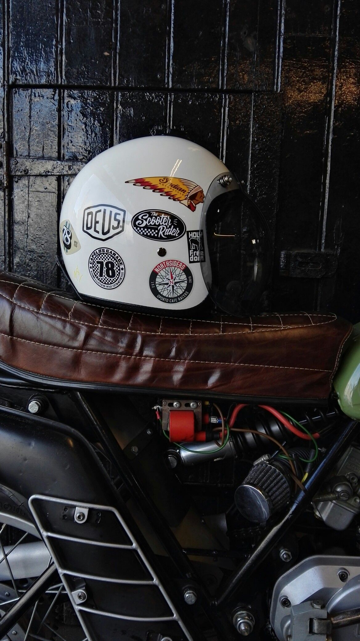Helmet By 78 Motor Co Motorcycle Helmets Vintage Cafe Racer Helmet Motorcycle Helmet Decals