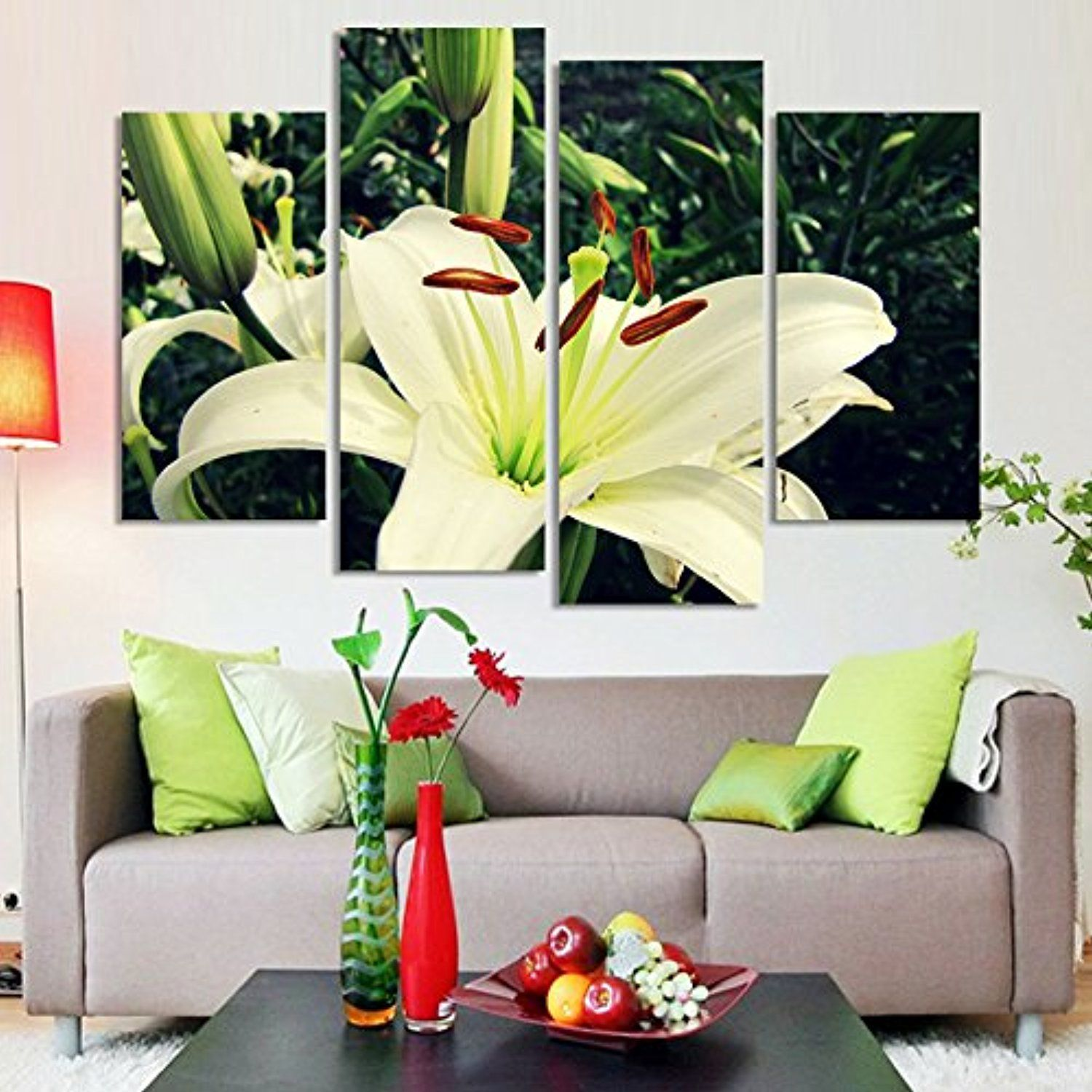 Painting By Numbers 4 Panel Beautiful Flowers On Canvas For
