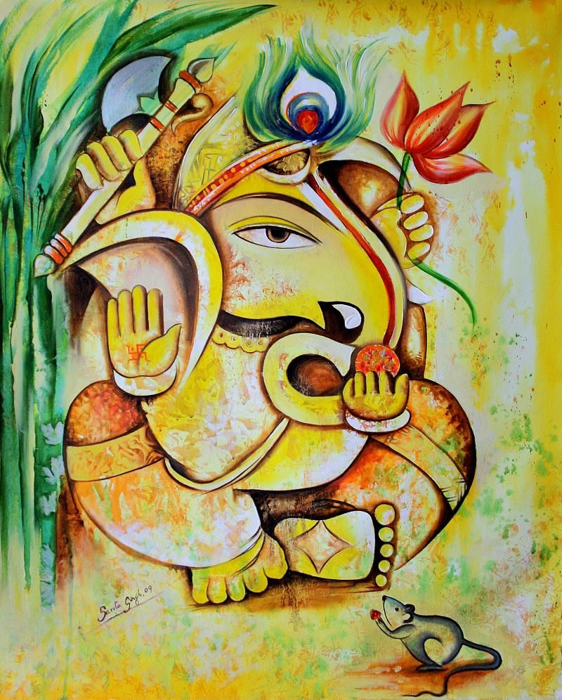 25 beautiful paintings of lord ganesha oil paintings for Mural art of ganesha