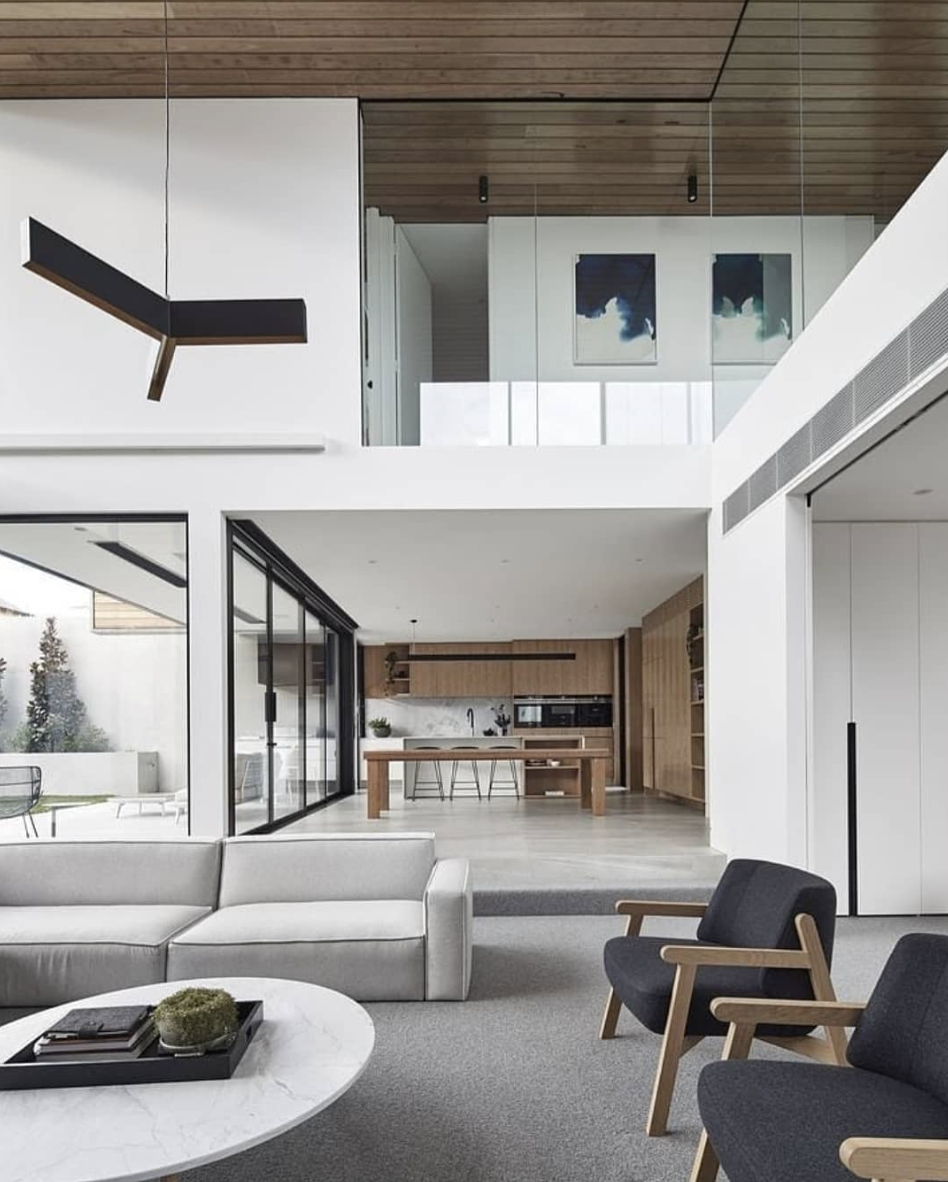 Double Height Ceiling W Step Down On Ground Level Bloomfield Homes Minimalism Interior Modern House Design