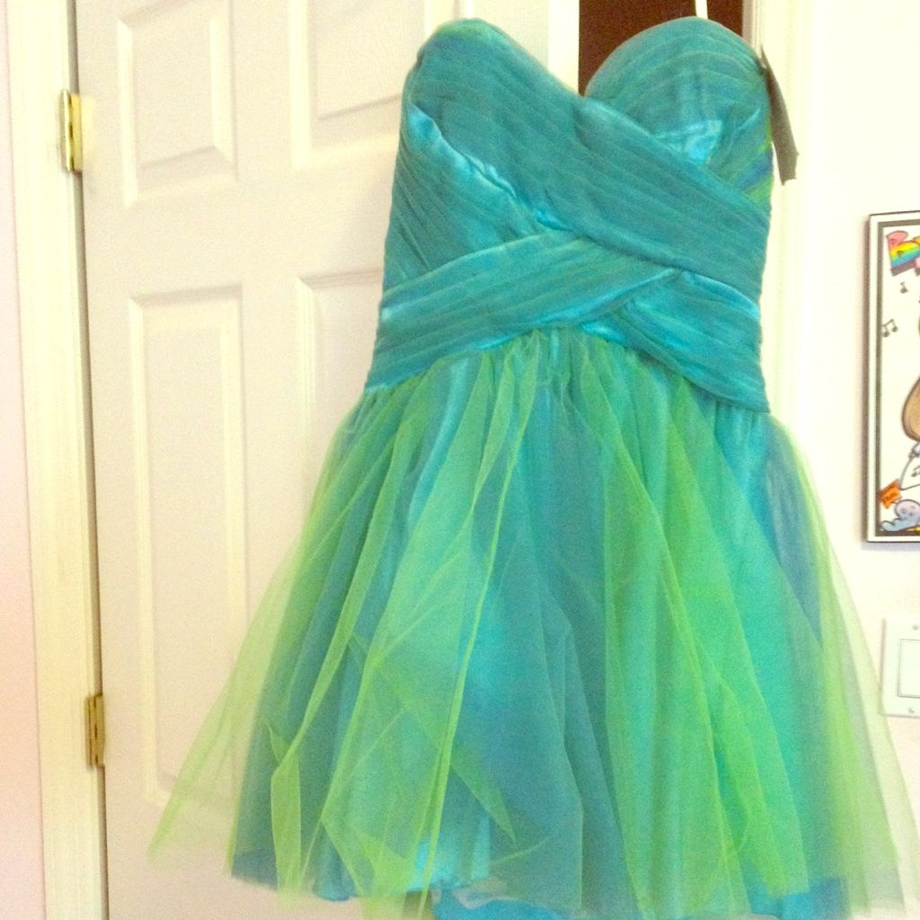 Nwt BlueGreen Short Party Dress Products Pinterest Green