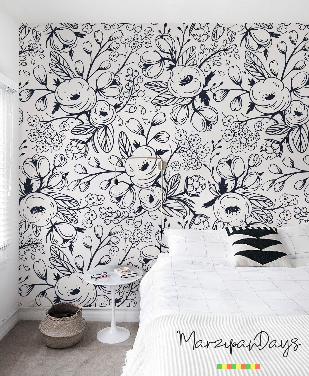 Beautiful Stylish Black Swhite Wallpaper Charming Romantic Bedroom Decor With A Black And White Black And White Wallpaper White Wallpaper Nursery Wall Murals