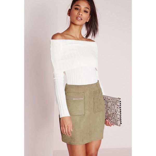 Missguided Zip Pocket Bonded Faux Suede Mini Skirt (£26) ❤ liked on Polyvore featuring skirts, mini skirts, khaki, faux suede skirt, short khaki skirt, faux suede mini skirt, khaki mini skirt and missguided skirt