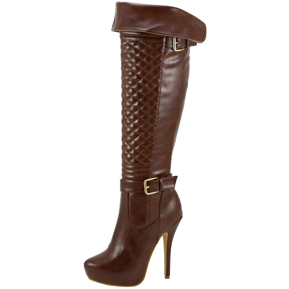 Womens Knee High Boots Quilted Front Buckle Accent High Heels Brown Brown High Heel Boots High Heel Boots Knee Womens Knee High Boots