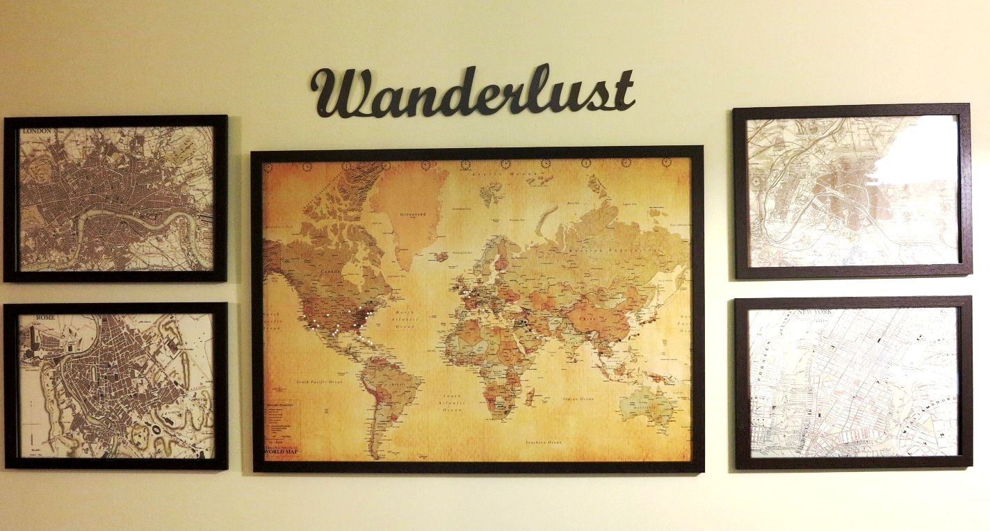 Wanderlust Wall. World map backed with corkboard and framed, then ...