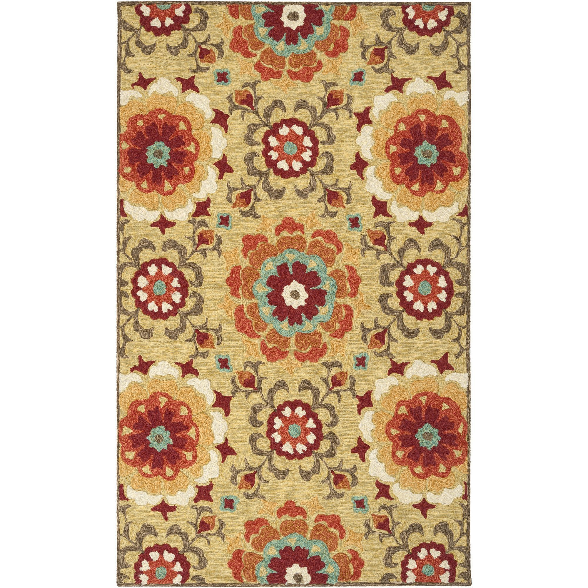 Cottingham Hand-Hooked Gold/Rust Area Rug