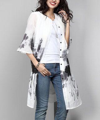 White & Black Floral Chiffon Button-Down Pin-Tuck Tunic