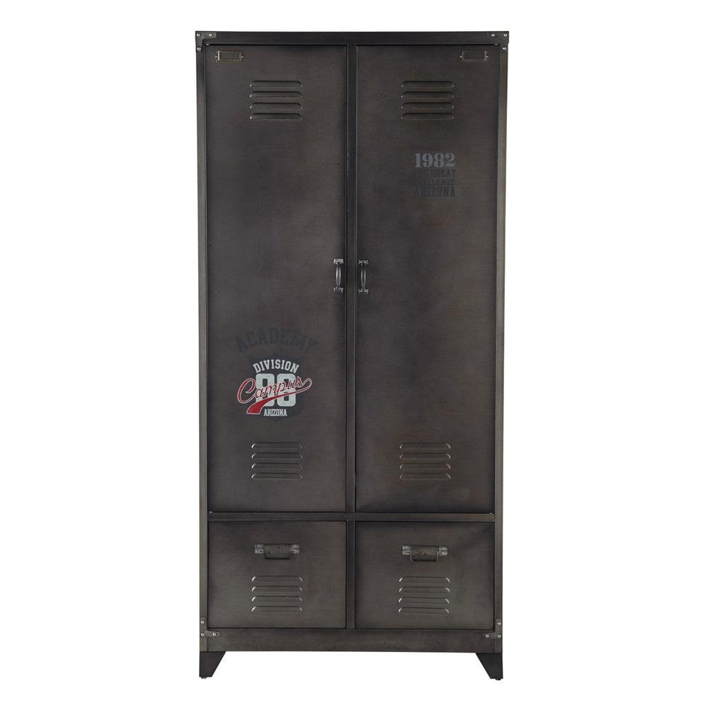 kleiderschrank im industrial stil aus metall b 90 cm jugendzimmer kinderzimmer und m bel. Black Bedroom Furniture Sets. Home Design Ideas