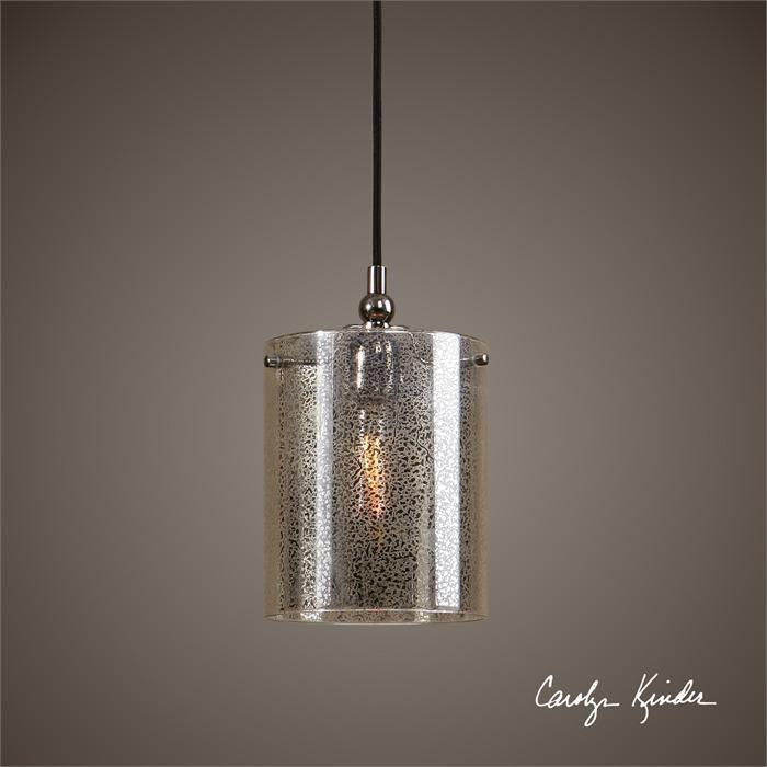 European Venetian Style Mini Pendant Light Flecked Mercury Glass Nickel Finish