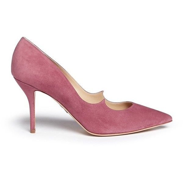 Paul Andrew 'Kimura' wavy topline suede pumps ($600) ❤ liked on Polyvore