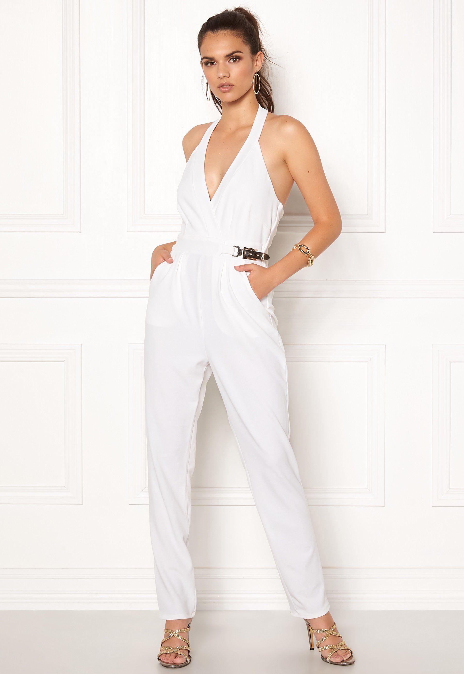 d135d02d759 Goddiva Resort Gold Buckle Jumpsuit White - Bubbleroom
