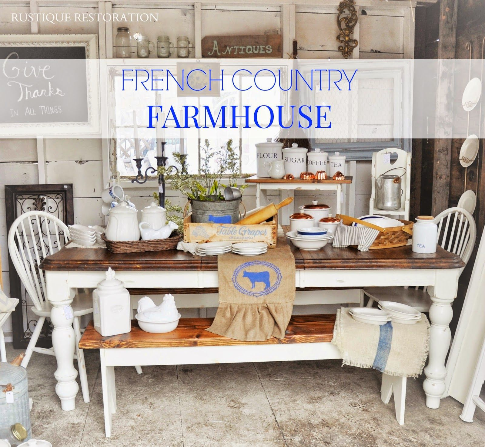 French Vintage Kitchen Design: Rustique Restoration: French Country Farmhouse Table And