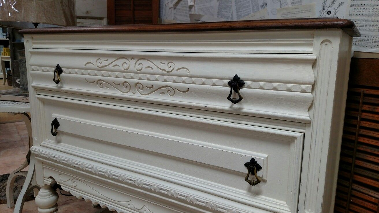 Old white chalk paint by annie sloan and general finishes java gel