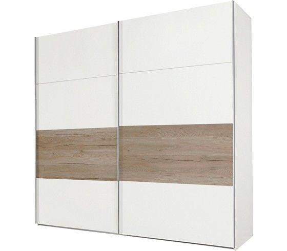 Tolóajtós szekrény: alpesi fehér dekor, San Remo tölgy rátéttel, 2 ...