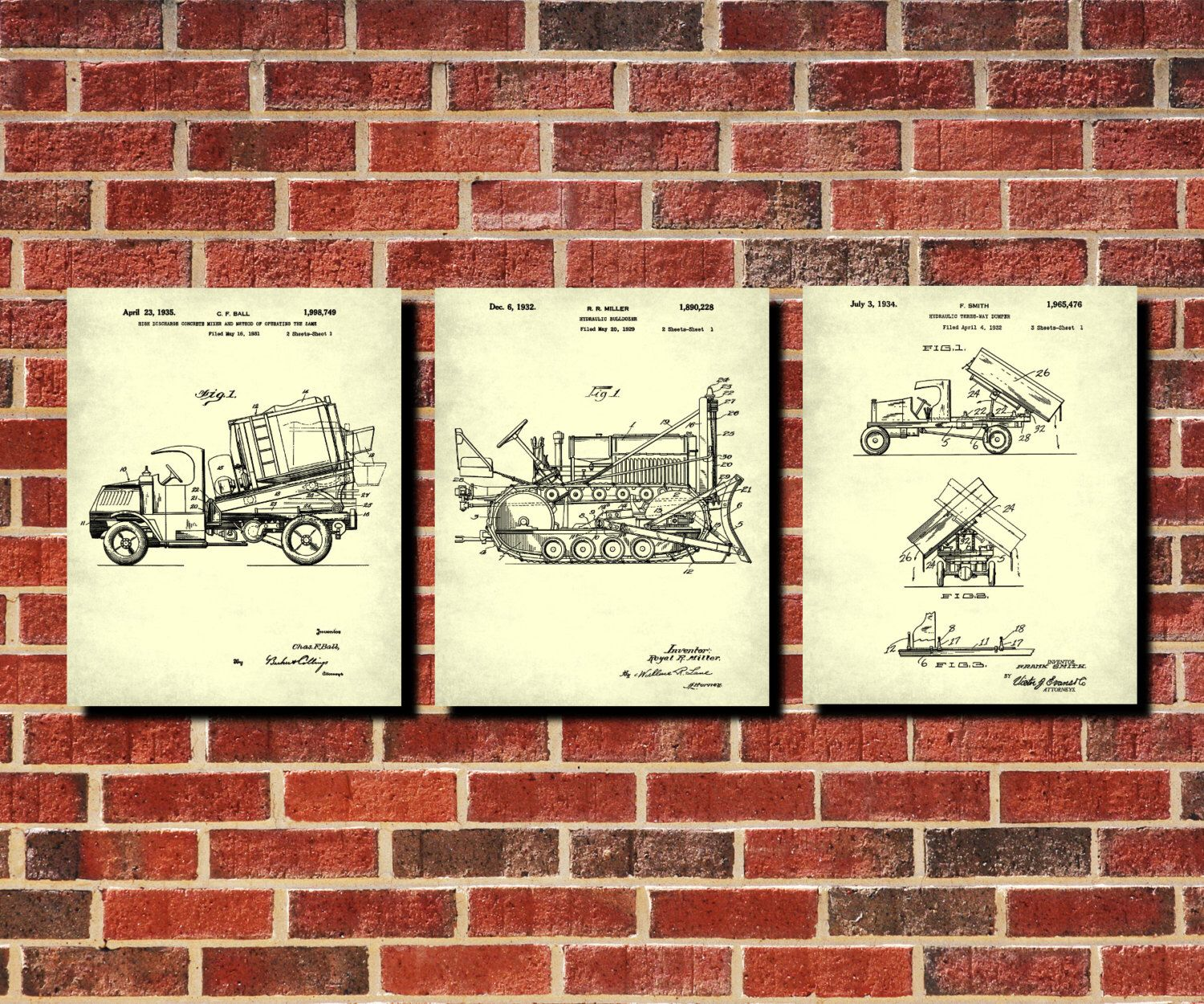 Construction vehicles patent prints set 3 man cave wall art boys construction vehicles patent prints set 3 man cave wall art boys room decor vintage machines blueprints malvernweather Choice Image