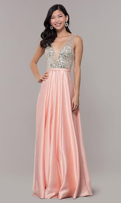 4b9b1893 Sequin-Bodice V-Neck Long Prom Dress, 2019   Φορεμα   Prom dresses ...