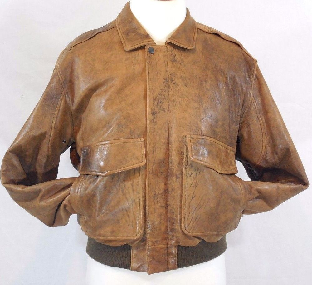 VTG DISTRESSED Brown Leather A-2 BOMBER FLIGHT Jacket J. Walden ...