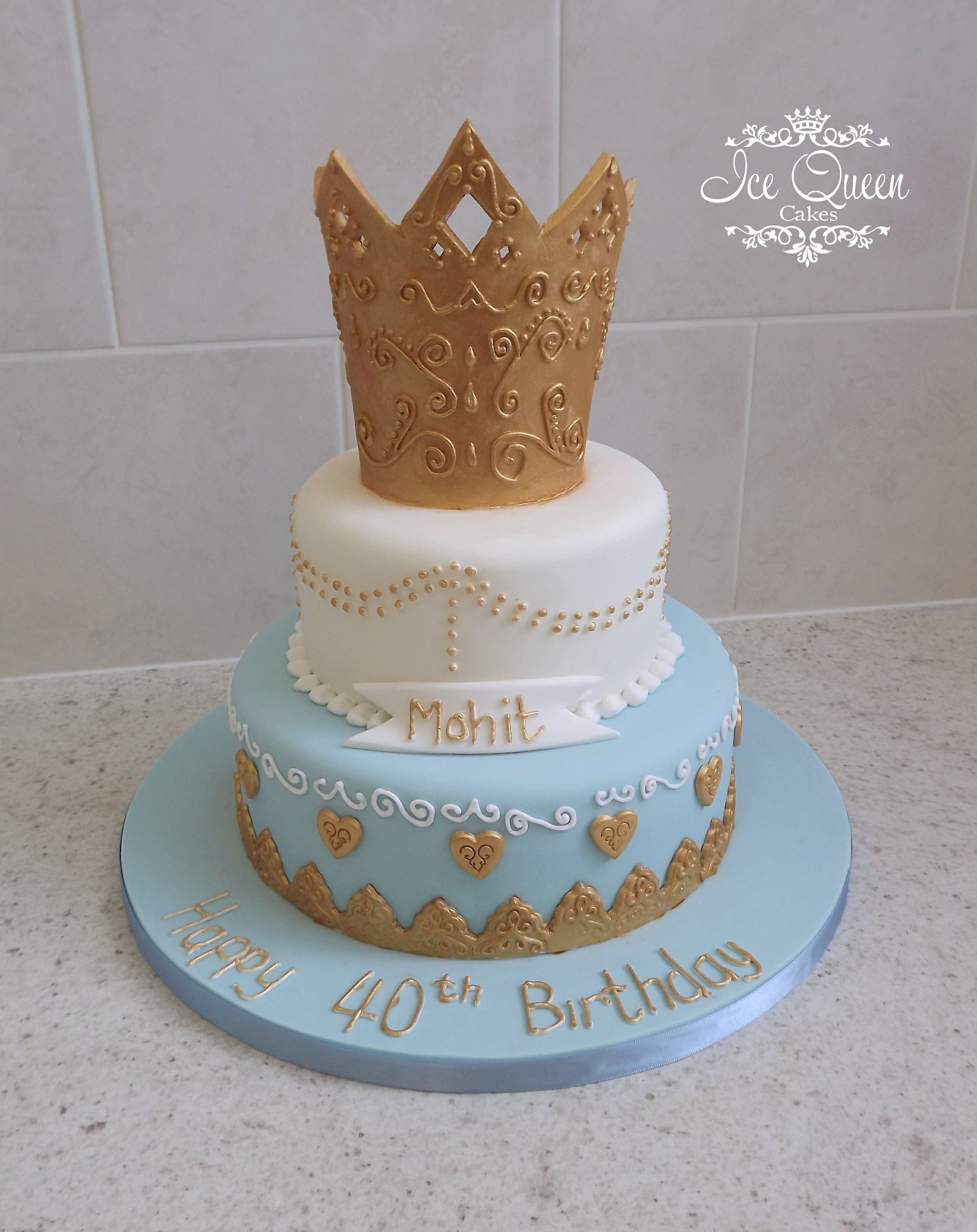 2 tier and crown birthday cake Ice Queen Cakes Designer wedding