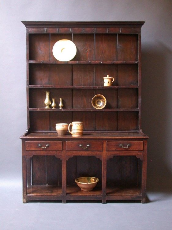 Century Oak Elm And Pine Welsh Dresser With Original Brass Handles