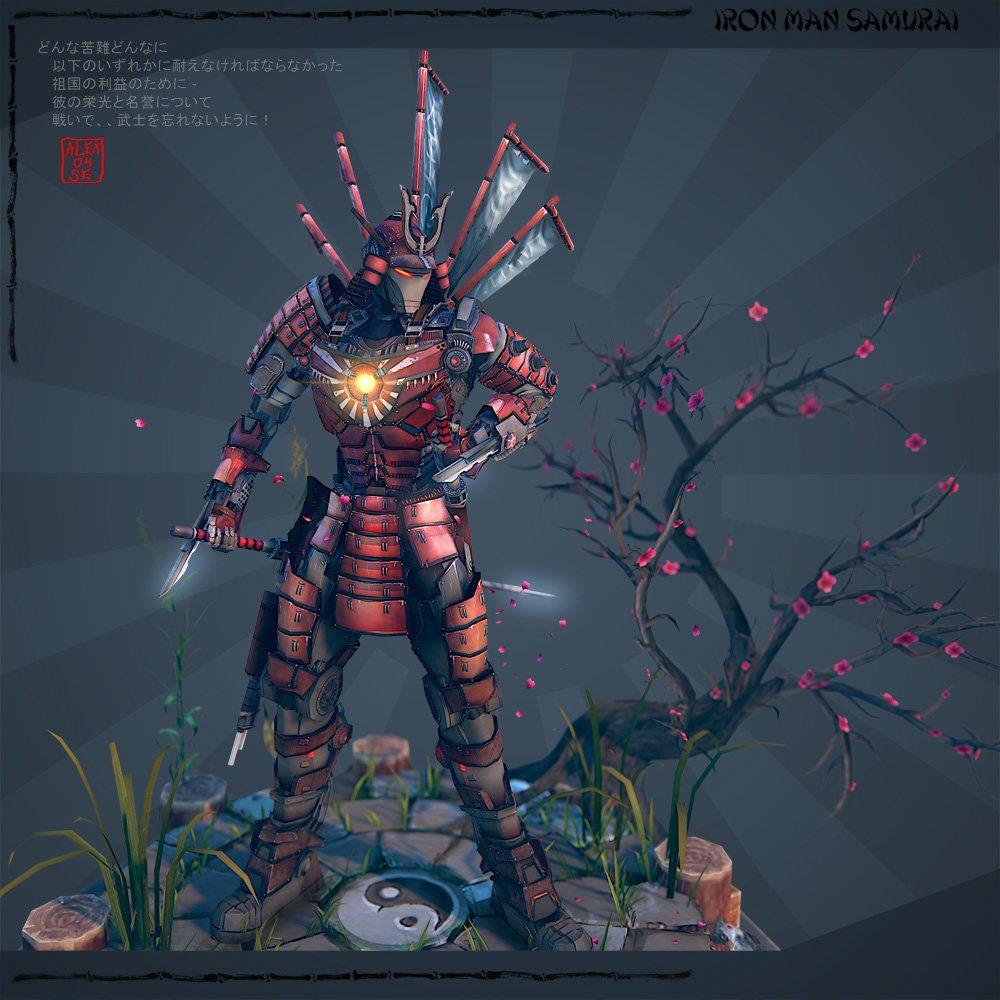 Iron Man Samurai, Alex Serebryakov on ArtStation at https://www.artstation.com/artwork/iron-man-samurai