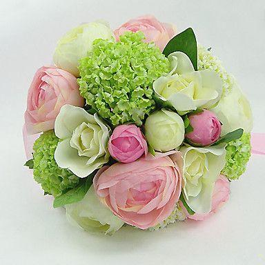 blanche et rose et vert en soie bouquet rond mariage. Black Bedroom Furniture Sets. Home Design Ideas
