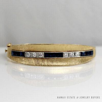 Vintage Sapphire Diamond 14k Yellow Gold Hinged Bangle Bracelet W Appraisal In 2020 Vintage Sapphire Hinged Bangle Bangle Bracelets