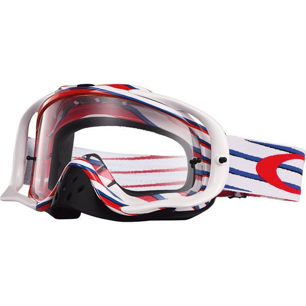 oakley crowbar lenses nw1a  Oakley Crowbar MX Goggle Nemesis Red/White/Blue w/ Clear Lens OO7025