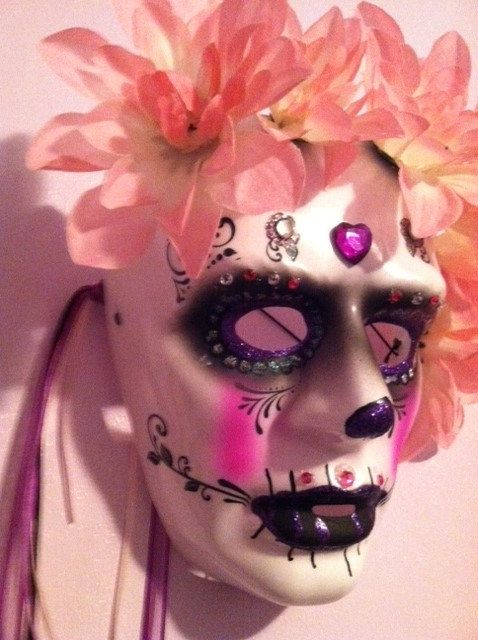 Sugar skull hand painted  Day of Dead mask skull by SherryAmature