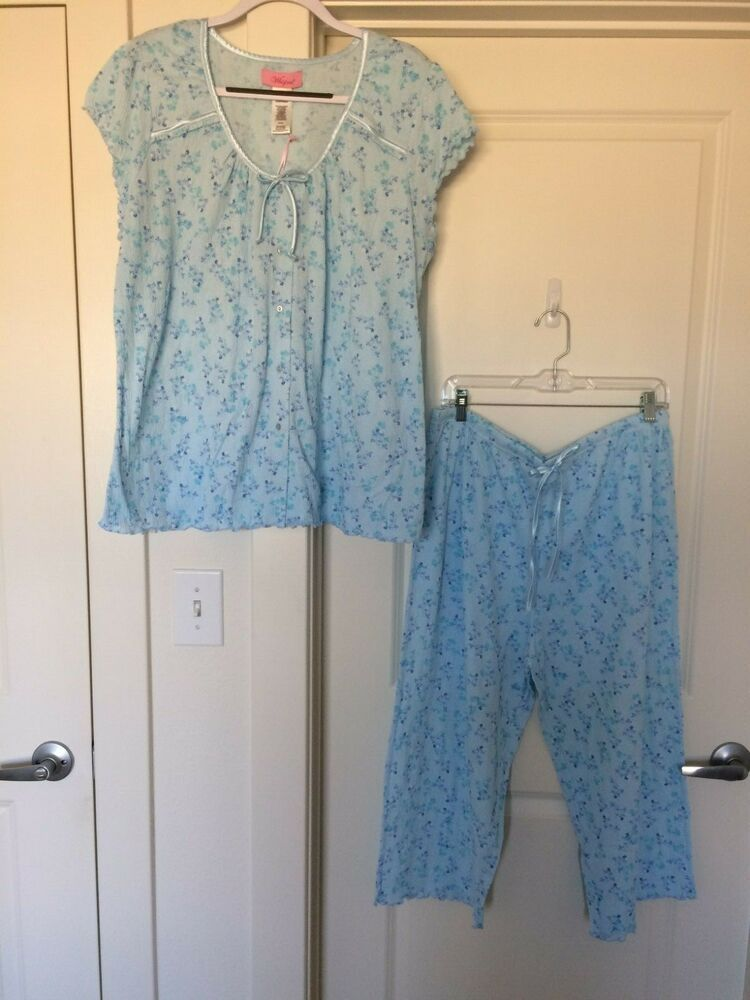 6f359b8420415 WHISPERS Lgt/Med/Spa Blue Floral Pajama Set Stretch Short Slv Crop Pants  NWT 2X #Whispers #PajamaSets #Everyday