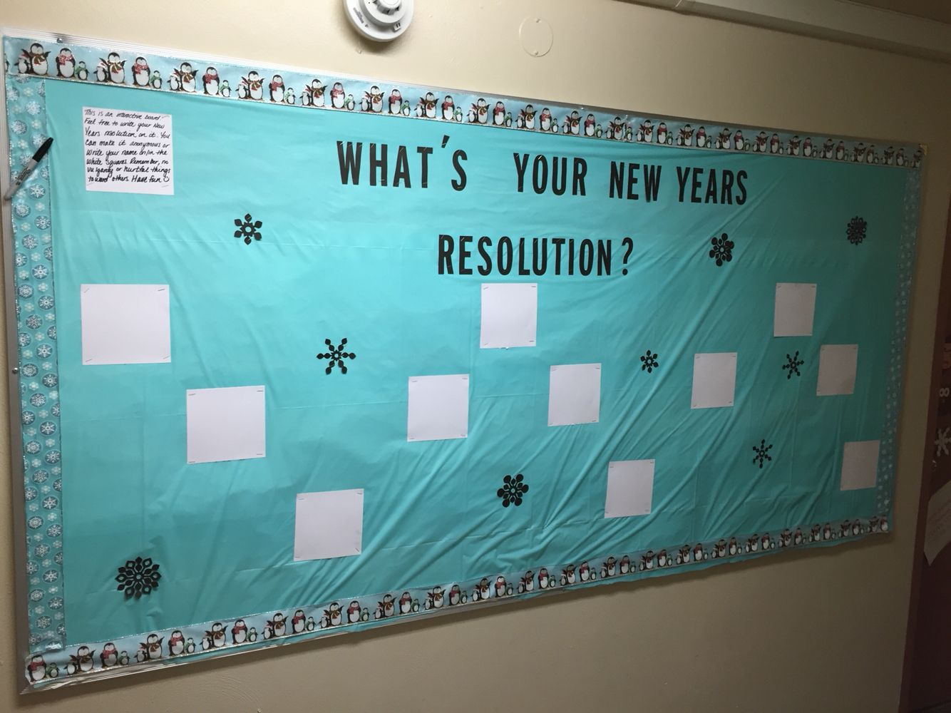 January bulletin board: residents write in their New Years resolution