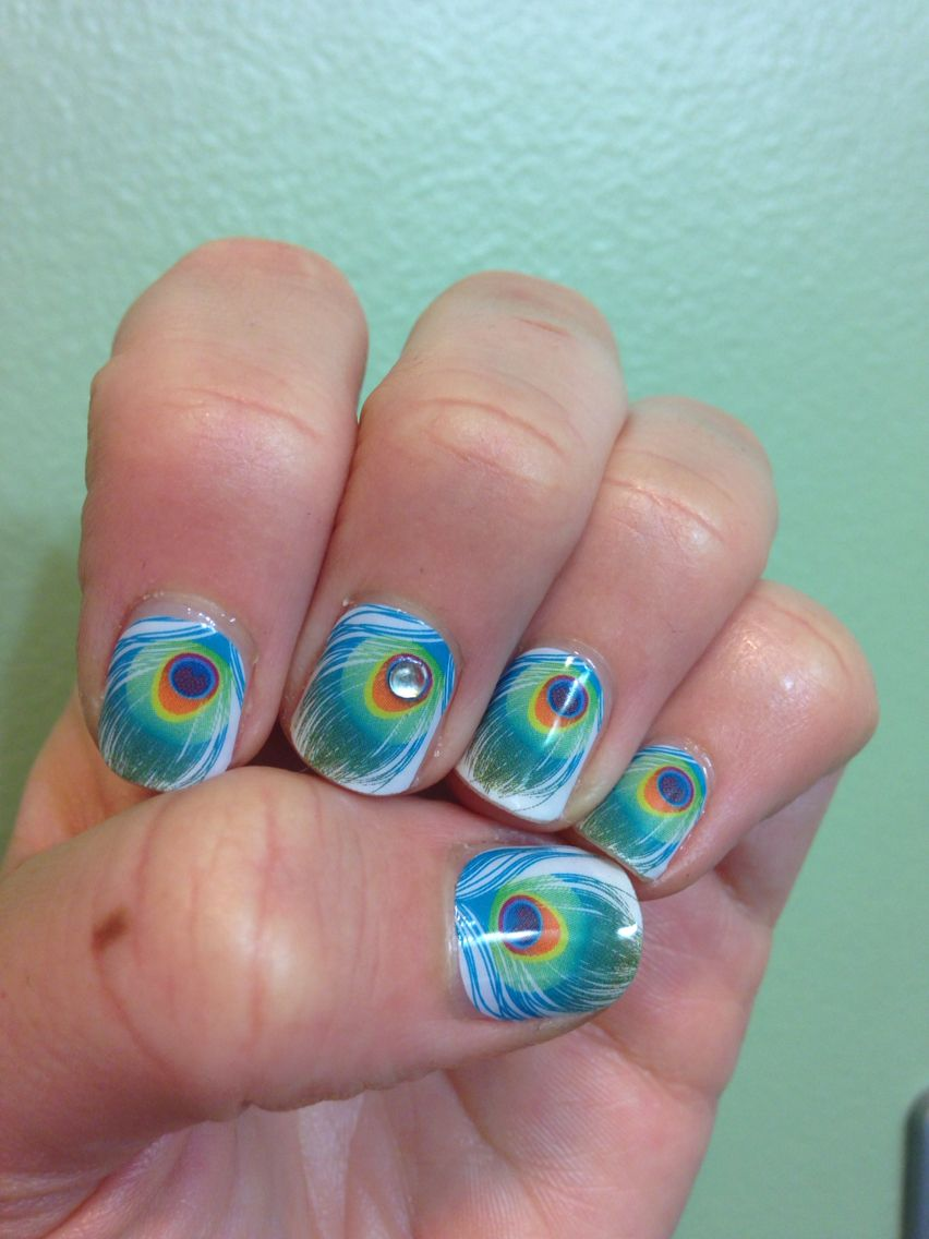 Jamberry Shake Your Tail Feather nail wrap with Trushine Gel Enamel ...